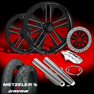 "Crank Eclipse 21"" Wheels Tires Single Disk Kit for 2000 08 Harley Touring"