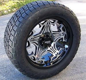 "17"" Motometal Skull Wheels Nitto Terra Grappler Tires Chevy GMC 4x4 1500 Tacoma"