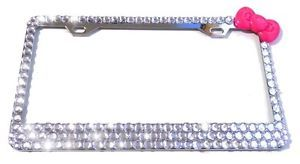 License Plate Frame 3rows Crystals Diamond Rhinestone Pink Bling Hello Kitty