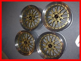 "JDM 18"" BBs LM Wheels Rims 18x8 5x114 3 Genuine Gold Non Staggered Setup"