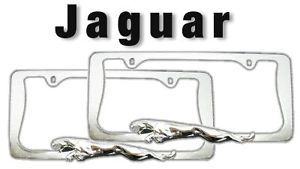Set of 2 Jaguar 3D License Plate Frames Leap Design Chrome Metal Universal Pair