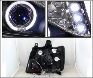 Blk LED Halo Rims Projector Head Lights 2007 2013 Chevy Avalanche Suburban Tahoe
