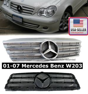 2001 2007 Mercedes Benz W203 Silver Front Grille Grill C230 C240 C280 C320 C350
