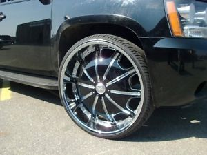 "24"" Wheels Rims Tire Package RS557 Chrome Black 6x139 H3 Armada Tundra F150 22"