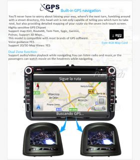 "In Dash 2 DIN HD 8"" Car GPS DVD Player DVB T TV VW Jetta Polo T5 Vento Amarok"