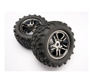 Traxxas Black Chrome Wheels Maxx Tires for Revo E Maxx T Maxx 4983A