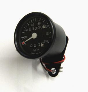 Black Housing Black Clamp Face Reset Trip 2 1 Ratio Mini Speedometer for Harley