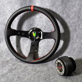 350mm Black PVC Leather Red Deep Dish Steering Wheel Hub Adapter Horn Button
