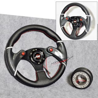 320mm Black w Red Racing Steering Wheel PVC Leather Hub Adapter w JDM Horn
