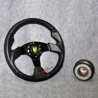 320mm Black PVC Leather Stitch 6 Bolt Sports Steering Wheel w Horn Hub Adapter