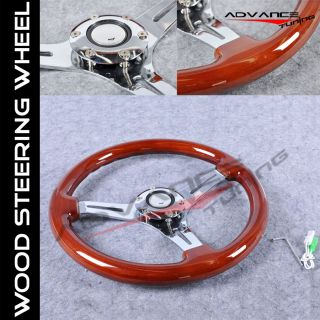 Classic Wood Grain Sport 350mm Steering Wheel Chrome Polish Spokes