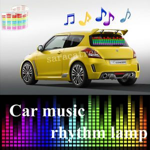 Car Sticker Music Rhythm LED Flash Light Lamp Sound Activated Equalizer 45x11cm