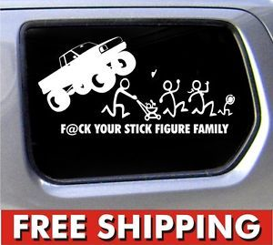 Stick Figure Family Nobody Cares Monster Truck Funny Stickers Car Decal Bumper