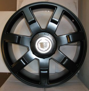 "24 Cadillac Escalade Wheels Rims Fit 2007 2013 22"" Gloss Black"