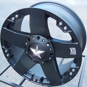 "20"" XD Rockstar Black Wheels Rims Dodge RAM 1500 Dakota Jeep Wrangler Unlimited"