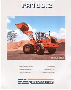 Fiat Allis FR180 2 Wheel Loader Specs Sales Literature