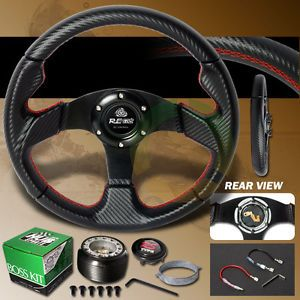 90 97 Mazda Miata MX5 Amemiya Carbon Jet Steering Wheel Red Stitches Hub Kit