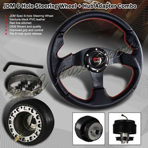 320mm Red Stitched Black PVC Leather 6 Hole Steering Wheel Mazda Hub Adapter