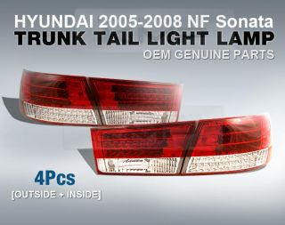 Genuine Parts Trunk Rear Tail Lamp Set 4pcs Fit Hyundai 2005 2008 NF Sonata
