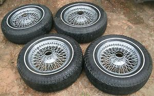 Jaguar XKE V12 E Type 72 Spoke Chromewire Wheels Tires Dunlop Rims 6JKX15X20