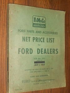 1928 1952 Ford Car Truck Parts Price List Catalog Original Book