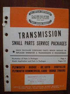 1933 1941 Transmission Parts Catalog Chrysler Plymouth Dodge DeSoto Trucks