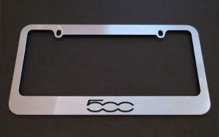 1 Brand New Fiat 500 Chrome Metal License Plate Frames Screw Caps
