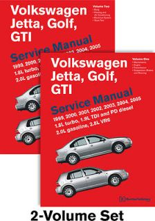 VW Jetta Golf GTI Bentley Printed Service Manual 2 Volume Set 99 05 FreeShip 0837616786