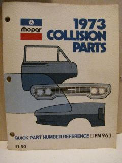 1973 Chrysler Dodge Plymouth Mopar Parts Manual Challenger Cuda Charger Duster