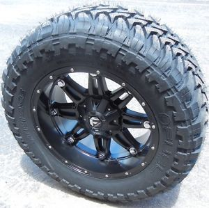 "20"" Black Fuel Hostage Wheels Rims 35"" M T Tires Chevy 1500 GMC Sierra Ford F150"