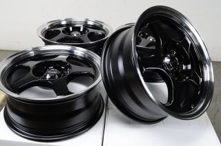 "15"" Kudo Black Wheels Rims 4x100 Corolla Golf Scion Miata Integra Civic Insight"