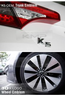 K5 Emblem Grille Trunk Steering Wheel 3D K Logo Wheel 2011 2012 Optima K5