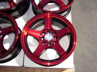 "15"" Red Wheels Rims Prelude Optima Spectra 5 galant 4 Lug Kia Rio 5 Sephia Civic"