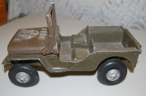 Scarce Vintage Oglesby Cast Aluminum Willy's Army Jeep as Is Parts Restore 11""