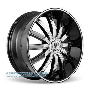 "24"" Venice Dolce Black Wheel and Tire Package for Dodge Ford GMC Hummer Lincoln"