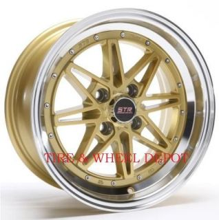 15 inch STR505G Gold Mach Rims and Tires 4x100 Accord Civic Fit Prelude Integra