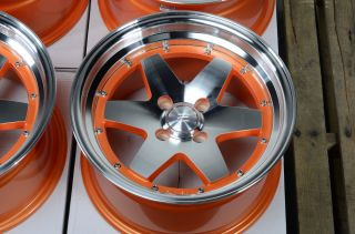 "15"" Effect Wheels Rims Orange 4x100 Low Offset Escort Accord Civic Prelude MR2"