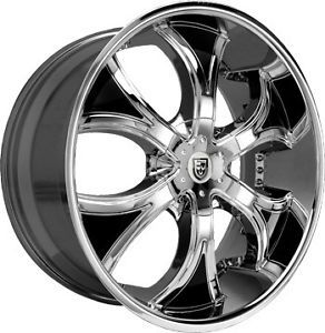"28"" Lexani Wheels Dial Chrome Rims 325 35 28 Tire 8 Lug Hummer H2 26 24 22 GMC"