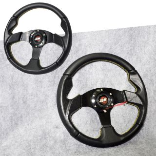 Universal 320mm Black w Yellow Stitch PVC Racing Sports Steering Wheel JDM Horn