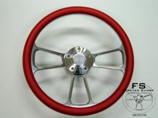 "14"" ""Muscle"" Steering Wheel Set w Red Halfwrap and SS Supersport Horn Cap"