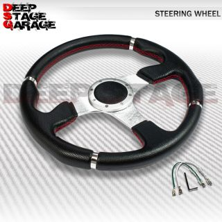 Universal 6 Bolt Aluminum Frame 350mm Racing Steering Wheel Black Silver Center