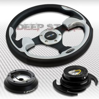 NRG SILVER STEERING WHEEL+HUB+BLACK GEN 3.0 QUICK RELEASE KIT MIT