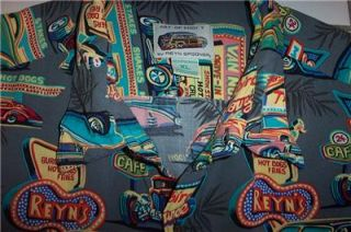 Reyn Spooner Vintage Classic Cars Hot Rods Racing Surfing Hawaiian Shirt Mens XL