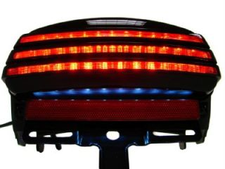 Smoke Tri Bar Fender LED Tail Brake Light for Harley Dyna Fat Bob FXDF 2008 Up
