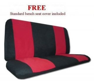 Flame Red Black High Back Bucket Synthetic Leather Car Truck Seat Covers Set Y