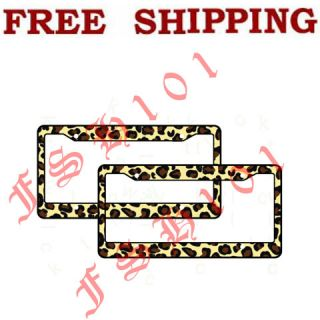 New 2pc Set Animal Leopard Print Plastic License Plate Frames
