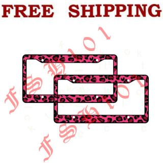 New 2pc Set Safari Pink Leopard Print Plastic License Plate Frames