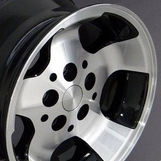 "15"" Black Wrangler Style Wheels 15x8 Set Rim Fits Jeep"