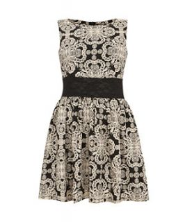 Madame Rage Black Lace Print Waist Dress