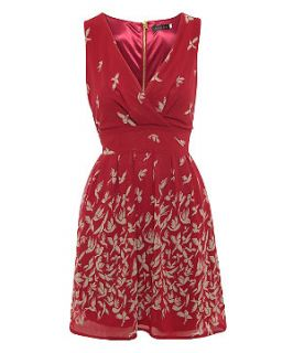 Tenki Red Bird Print Sleeveless Dress